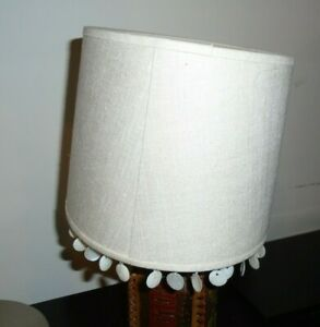 Laura Ashley Neutral linen Lampshade with mother of pearl tassels VGC
