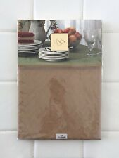"NWT! LENOX Fine Cotton Linens Tablecloth Holiday Christmas Brown Round 70"" Decor"