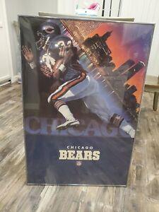 VINTAGE 1980's NFL Chicago Bears Walter Payton Poster 24 x 36 Framed RARE