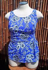 Womens Plus Sz 18 W 1 Piece Swim Suit Blue Black White Floral Wrap-Built In Bra