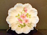 """Vintage LIMOGES  A K  Hand Painted PINK Rose Plate 7"""" Scalloped Gold Trim"""