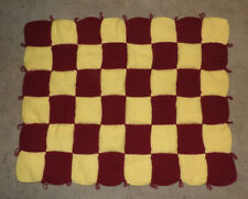 HAND KNITTED BLANKET - PINOT AND LIGHT YELLOW COLOR - CHECKERBOARD PATTERN