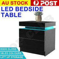 2020 NEW Tables Side Table 3 Drawers RGB LED High Gloss Nightstand White Black