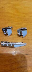 Anson Chrome Shield Cuff Links & Tie Bar