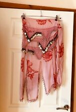NEW LADIES VINTAGE BELLY DANCE CHIFFON WRAP SKIRT BNWOT BEADED COIN SARONG TIE