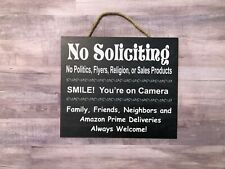 No Soliciting ,Smile your on Camera, Family and Amazon Welcome Wooden Sign P169K