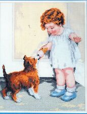 "Bucilla Counted Cross Stitch Kit The Reward Girl Dog 11"" x 14"" 41341 NIP"