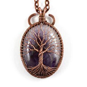 Artisan Handmade Amethyst Tree of Life Necklace Pendant February Birthstone