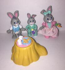 Lot Of 3 Bunny Rabit Figurines Kids Play Toys Family Plastic