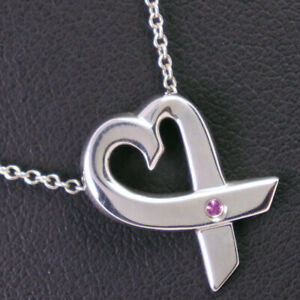 TIFFANY&Co. Paloma Picasso Loving heart Necklace Silver925/Pink Sapphire Women