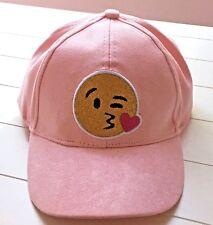 Chatties Girls 7-16 Emoji Hat Pink Baseball Cap Kissy Face Adjustable Fit