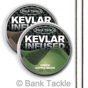 Bank Tackle Kevlar Infused Braid 25lb Carp Fishing Hook Link Made with Kevlar