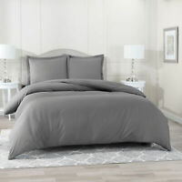 Duvet Cover Set Soft Brushed Comforter Cover W/Pillow Sham, Gray - Full