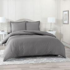 Duvet Cover Set Soft Brushed Comforter Cover W/Pillow Sham, Gray - Full