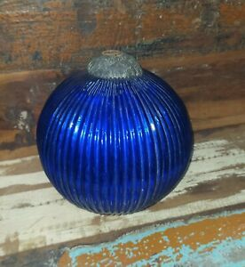 Old Kugel Original Heavy Blue Glass Ribbed Shape Christmas Ornament Wall Decor