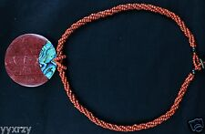 Abalone Shell Red Beads Red Wood Inlay Round Circle Pendant Necklace Shiny