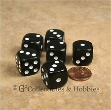 NEW Set of 6 Black ROUNDED EDGE Dice Six Sided RPG Bunco 16mm 5/8 inch D6