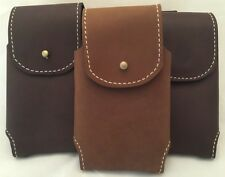 GENUINE AMISH HANDMADE LEATHER Phone Holster Case with Card Wallet Stud Closure
