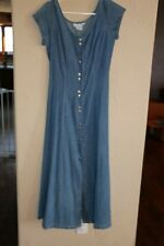 Peggy Sue wears blue Women's Button Down Dress - Denim - Size 9