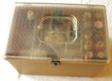 VINTAGE WILSON WIL-HOLD SEWING BOX WITH VINTAGE SEWING NOTIONS  L6