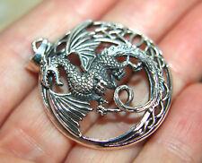 Celtic Dragon 925 Sterling Silver Pendant Unusual ( GOT LOTR Fans? Smaug ) 35mm