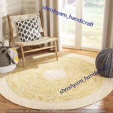Braided Round 180x180 CM Natural Hand Woven Handmade Floor Jute Carpet Area Rugs