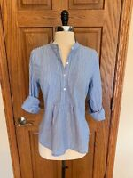 L.L. Bean Tunic Shirt S Blue White Striped Lightweight Blouse Top Roll Tab Slv