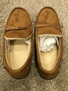 NEW Men's ISOTONER Signature Brown Moccasin Slippers size Large 9.5-10.5