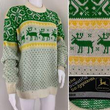 JOHN DEER Sweater Womens Size XL Green Yellow Pullover Ski Christmas Snow Mobile