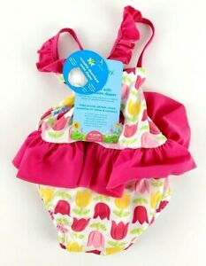I Play Girls One Piece Pink Swimsuit With Built In Reusable Swim Diaper 18 Mo