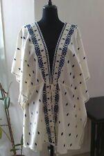 BNWT Zara Ivory Navy Embroidered Kimono Jacket - Size M