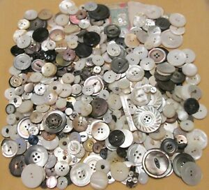 Over 2 Lbs Antique Vintage Mother of Pearl MOP Buttons Lot - Sm-Med-Lg