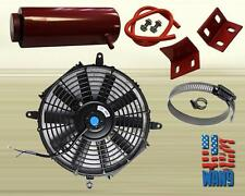 "7"" Slim/Thin 12V Push/Pull Electric Radiator Cooling Fan + Overflow Tank Red"