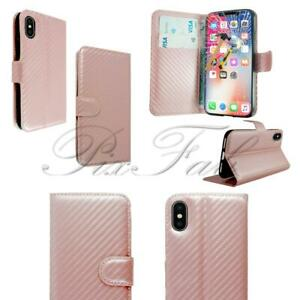 New Rose Gold Carbon Leather Wallet Phone Case For Apple iPhone X + T Glass