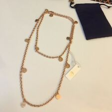 NWT TORY BURCH Rose Gold Logo Charm Rosary Necklace w dustbag 45%OFF