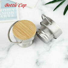 Sports Water Bottle Screw In Lid_Stainless Steel Portable Cap with Handle Ring