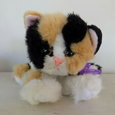 Vintage Tyco Kitty Kitty Kittens Patches Calico Plush Cat Purrs Purple Ribbon