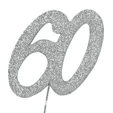 60 Glitter Number on a Pick - 60th Birthday Anniversary Cake Decoration Topper