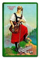 """EDELWEISS BEER P. SCHOENHOFEN CHICAGO IL 18"""" HEAVY DUTY USA MADE METAL ADV SIGN"""