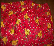 Girls Pajama Pants sz 14-16 Red Poly Flannel/Santa Ducks Stringing Lights NEW
