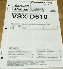 PIONEER VSX-D510 AUDIO/VIDEO RECEIVER ORIGINAL SERVICE REPAIR MANUAL