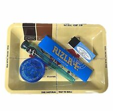 RAW MINI ROLLING TRAY SET BLUE SLIM RIZLA ROLLING PAPER TIPS BLUE HOLDER GRINDER