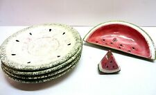 New listing Vtg Watermelon Dishes Dessert Plates Tooth Pick Holder Compote Bowl