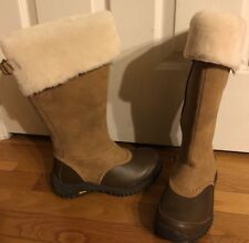 UGG Pure Wool  Genuine Shearling  Suede Leather Rubber Sole Boots Sz 5.5 USA