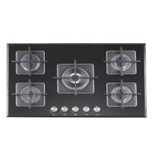 70cm Gas Glass Cooktop 5 Burners Built In Natural Gas / LPG Black for Kitchen