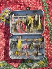 Vintage Assorted 30+ Flies In Sterling Quality Perrine Small Fly Box