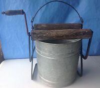 Vintage Mop Bucket wood wringer hand crank foot galvanized country farm kitchen