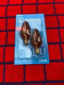 2 DEEP AMBER 25w FLUTED F10 swirl 25 watt FLAME 04089 light BULB CANDELBRA E12