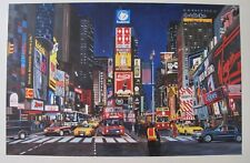 """KEN KEELEY """"Times Square At Night"""" Hand Signed Limited Edition Serigraph Art"""