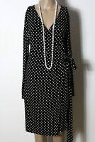 H&M Kleid Gr. M schwarz-weiß Polkadot Punkte Langarm Wickelkleid/Kleid